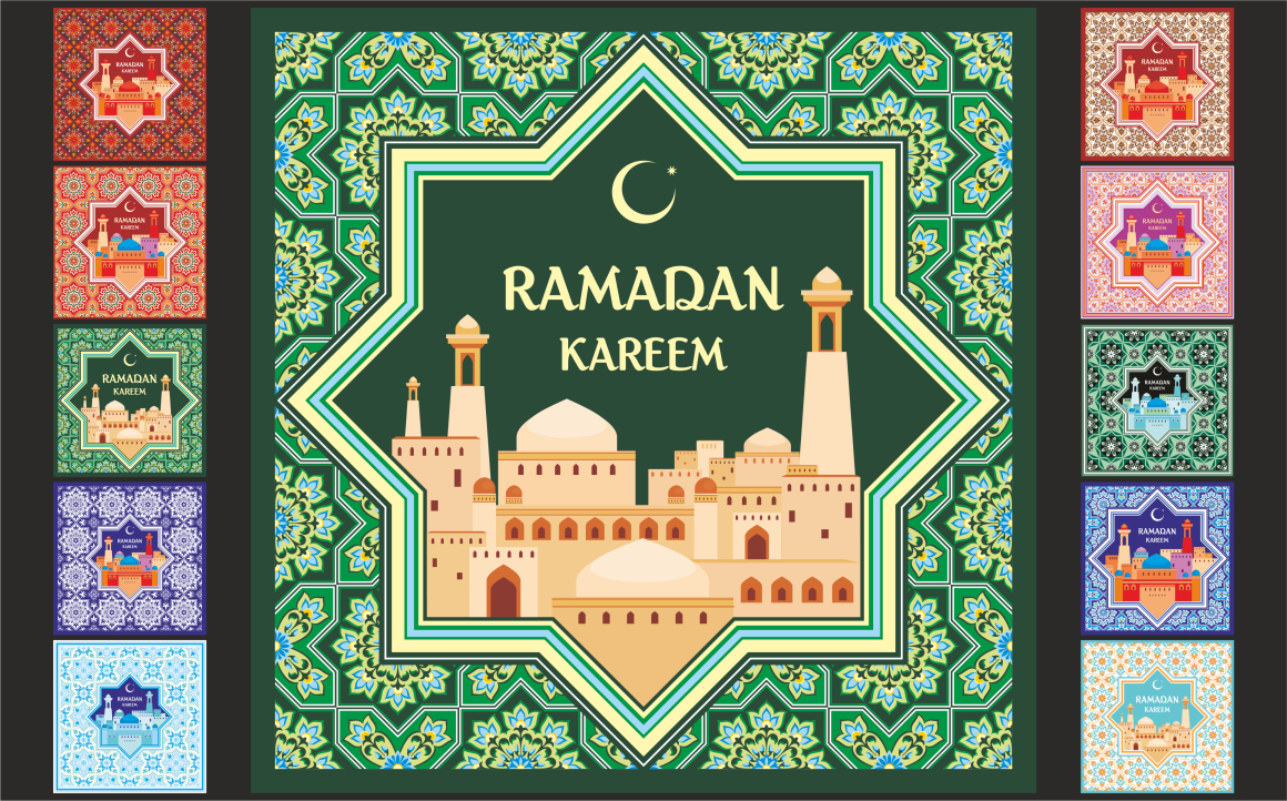 Print on Demand: Ramadan Greeting Cards Set Grafik Designvorlagen von Olga Belova