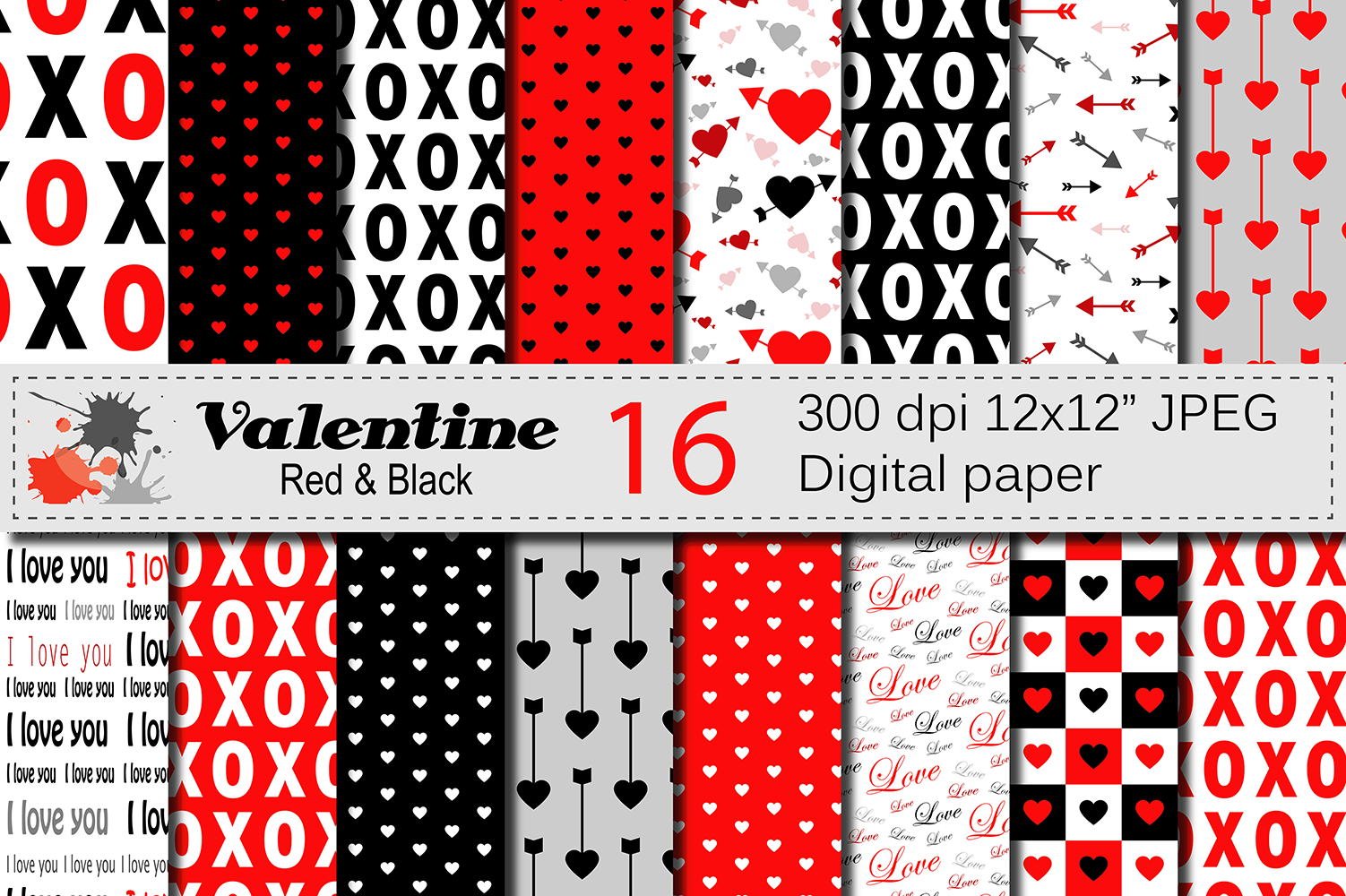 Red and Black Valentine Digital Paper Pack with Hearts and Arrows / Valentine Backgrounds Graphic Backgrounds By VR Digital Design