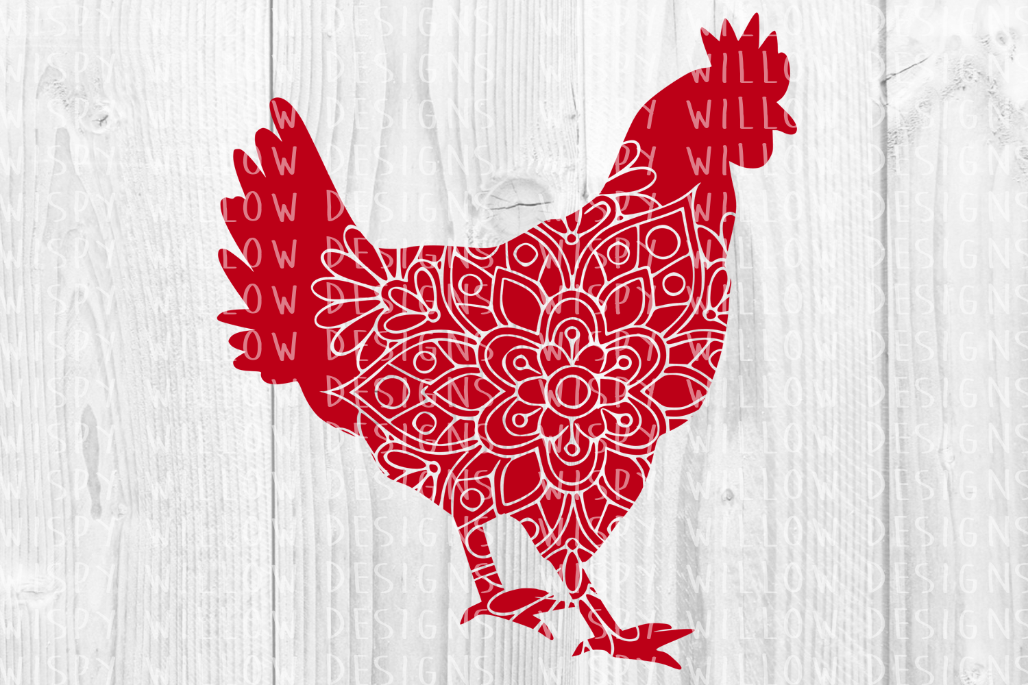 Download Free Rooster Chicken Floral Mandala Animal Graphic By for Cricut Explore, Silhouette and other cutting machines.