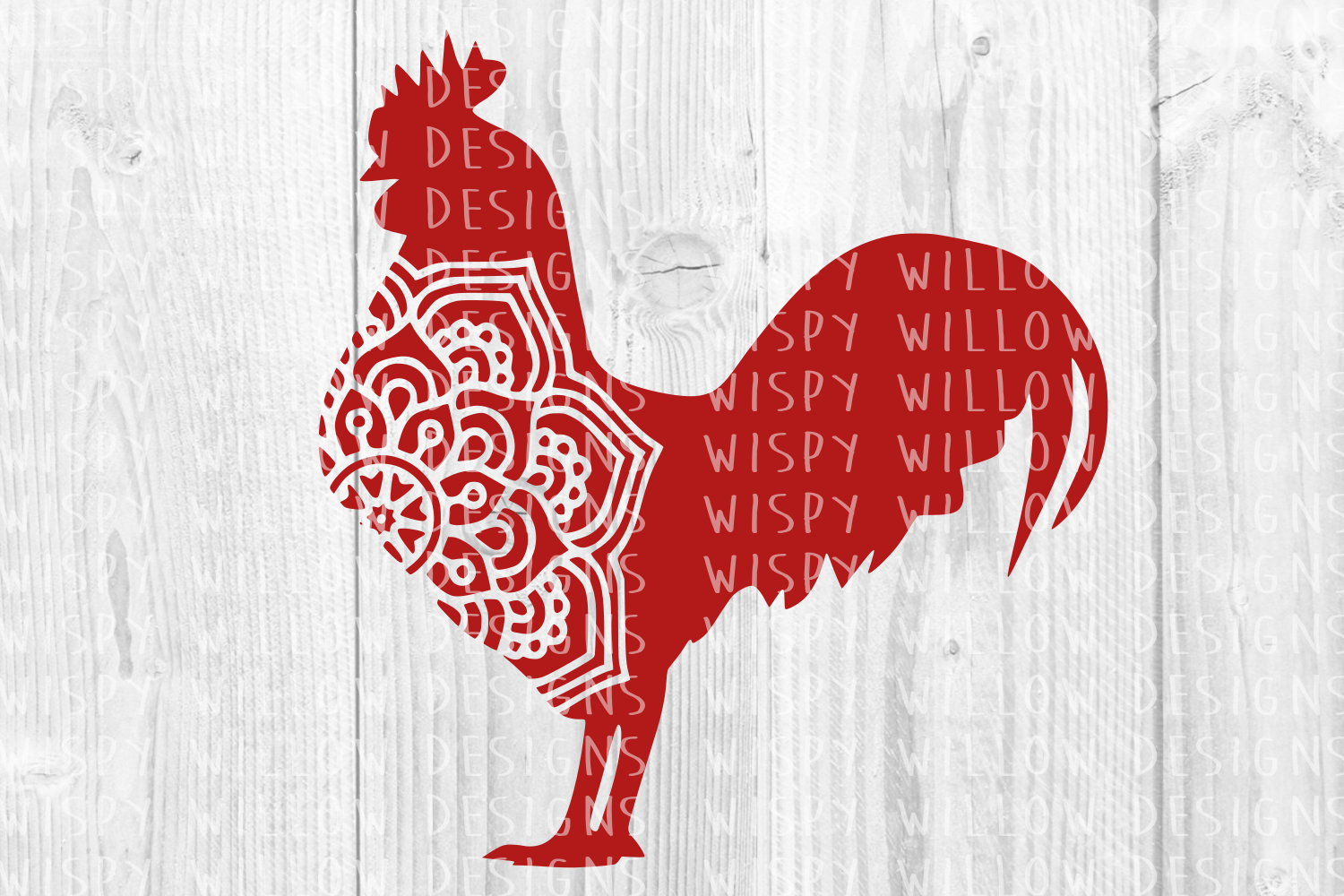 Download Free Rooster Mandala Graphic By Wispywillowdesigns Creative Fabrica for Cricut Explore, Silhouette and other cutting machines.