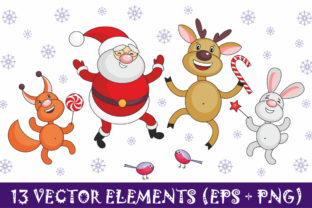 Download Free Santa Claus And Cheerful Animals Christmas Illustrations Graphic for Cricut Explore, Silhouette and other cutting machines.