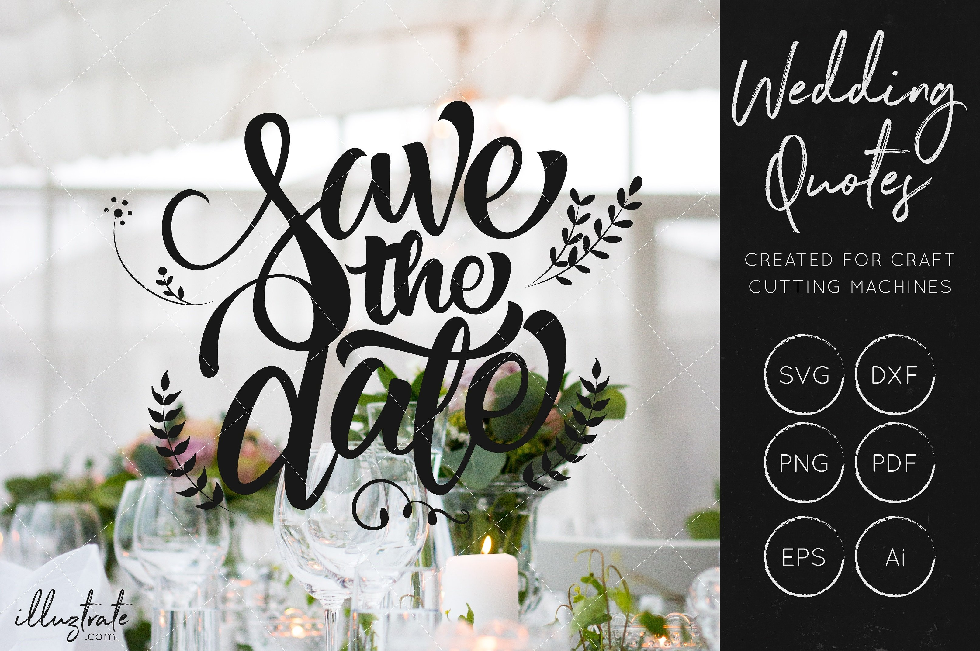 Print on Demand: Save the Date SVG Cut File Graphic Crafts By illuztrate