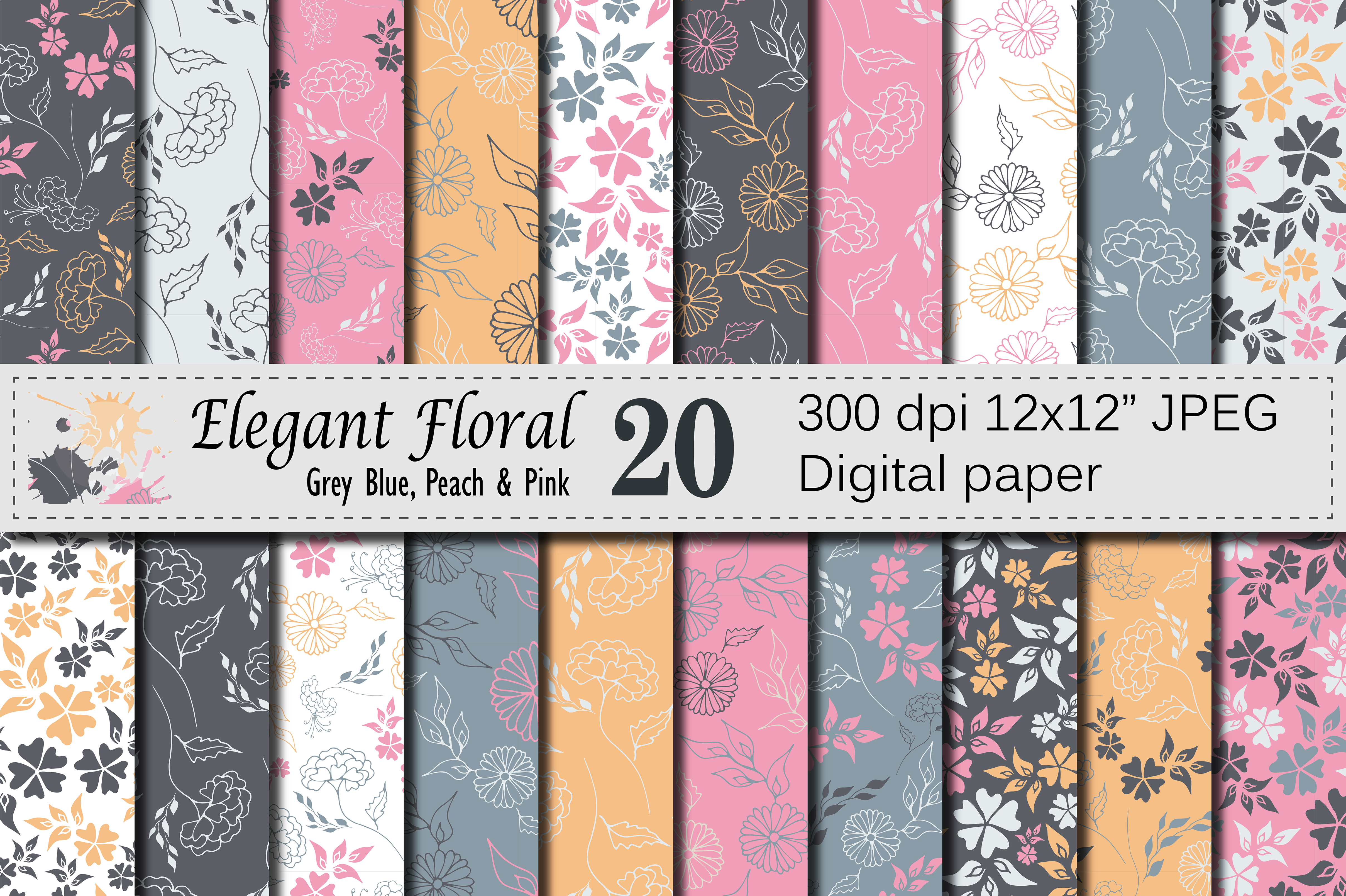 Seamless Elegant Floral Digital Paper with Hand Drawn Flowers Graphic Patterns By VR Digital Design