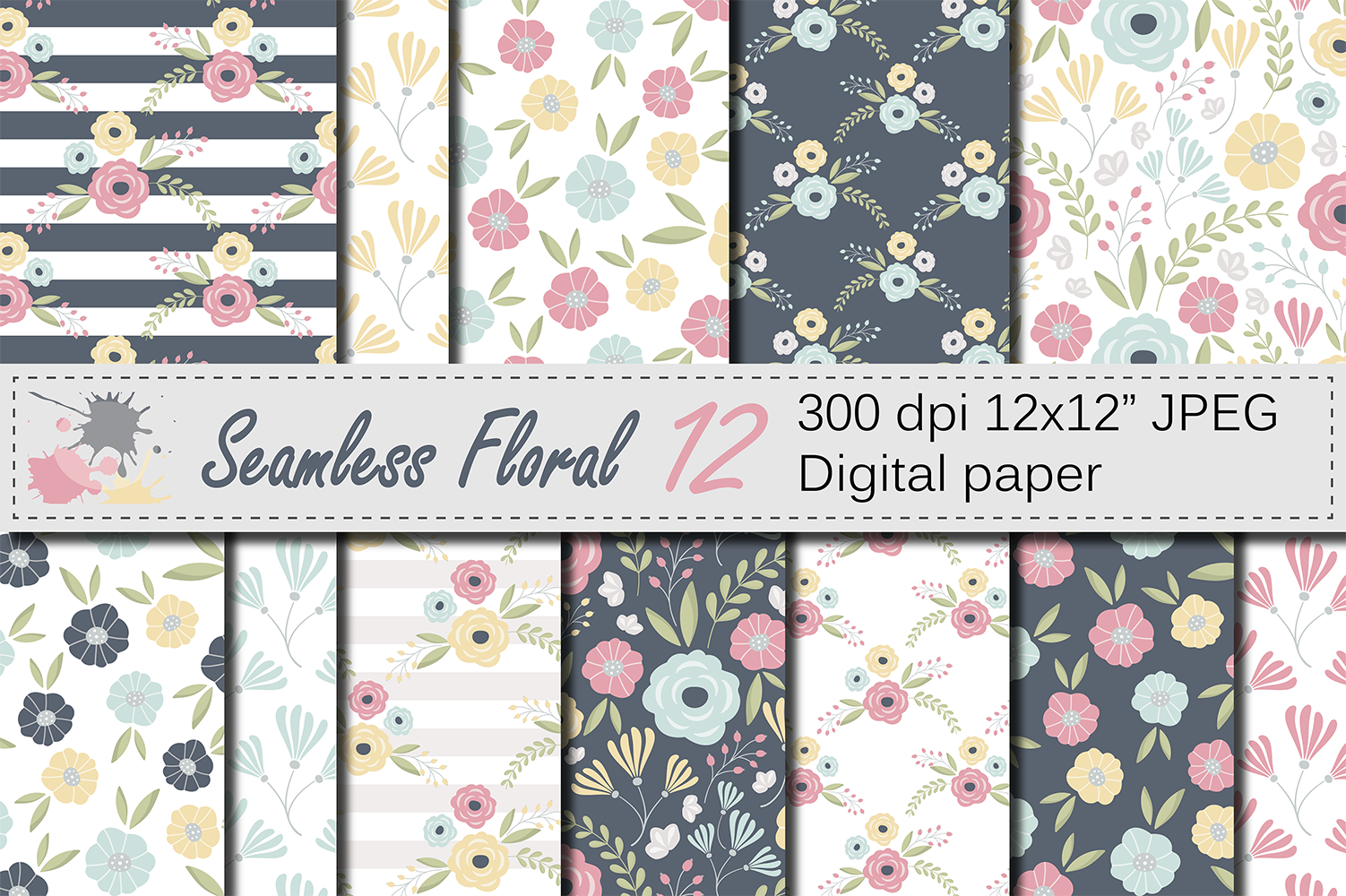 Seamless Floral Pattern Graphic Patterns By VR Digital Design