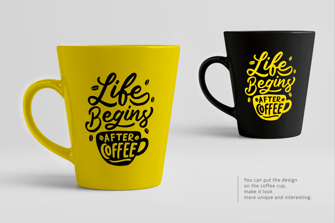 Download Free Set Of Hand Lettering Coffee Quotes Graphic By Weape Design for Cricut Explore, Silhouette and other cutting machines.