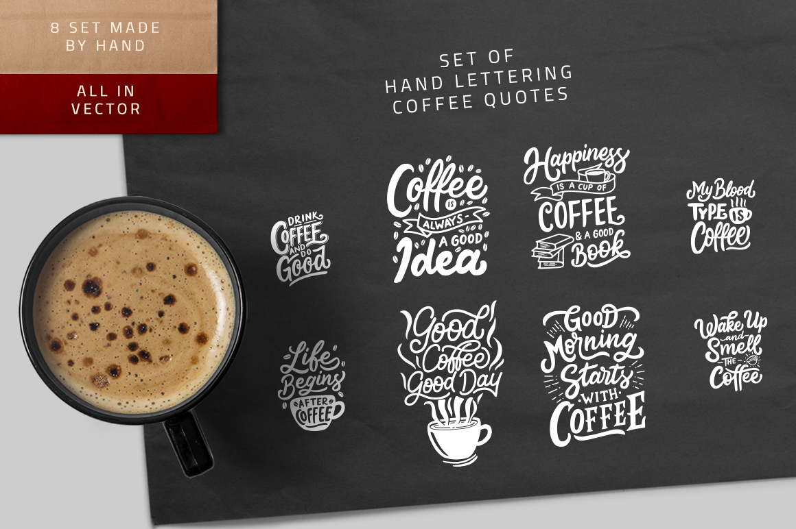 Coffee Quotes: Set Of Hand Lettering Coffee Quotes Graphic By Weape