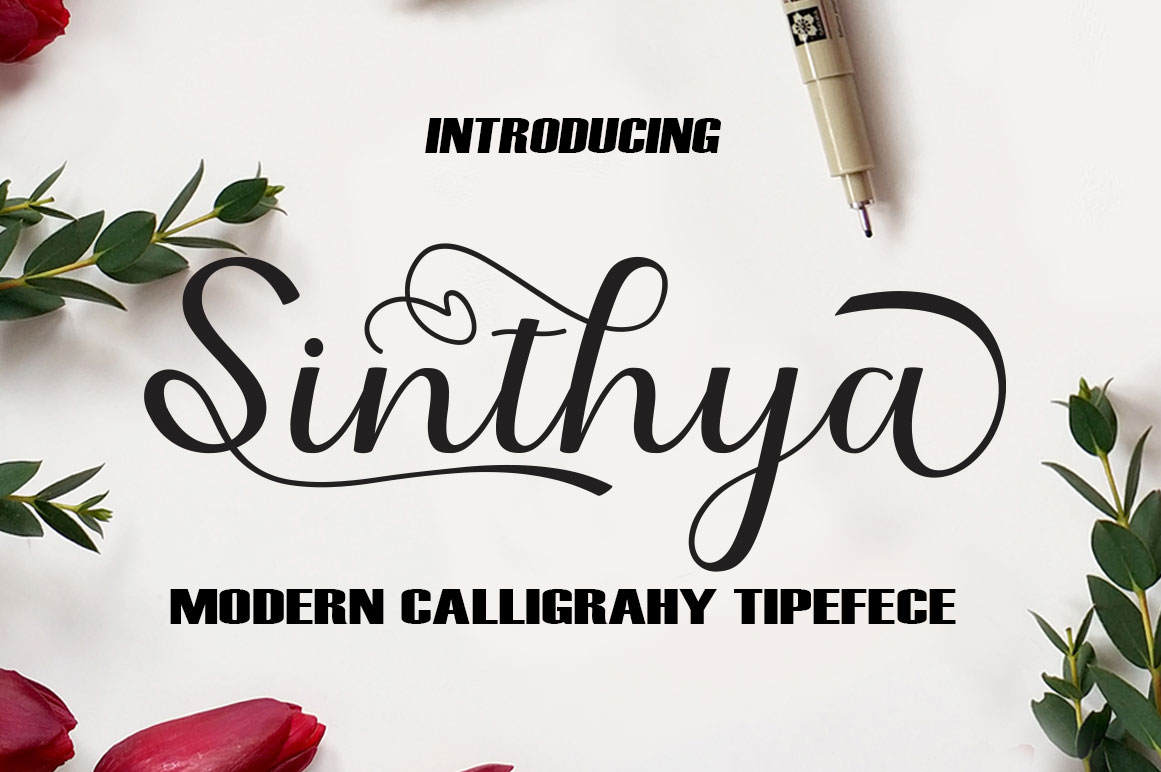 Print on Demand: Sinthya Script & Handwritten Font By saidi studio