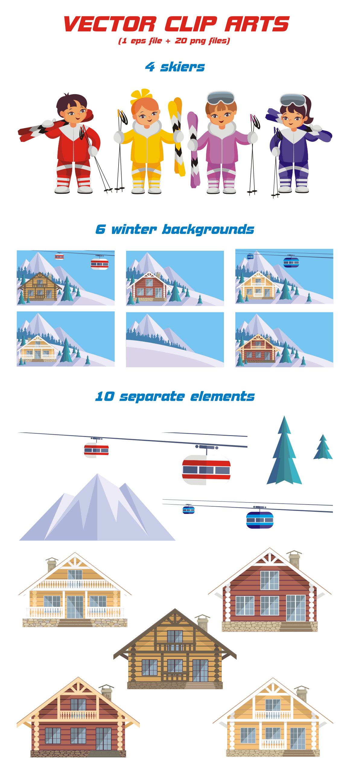 Print on Demand: Ski Resort Vector Clip Art Illustrations Graphic Illustrations By Olga Belova - Image 2