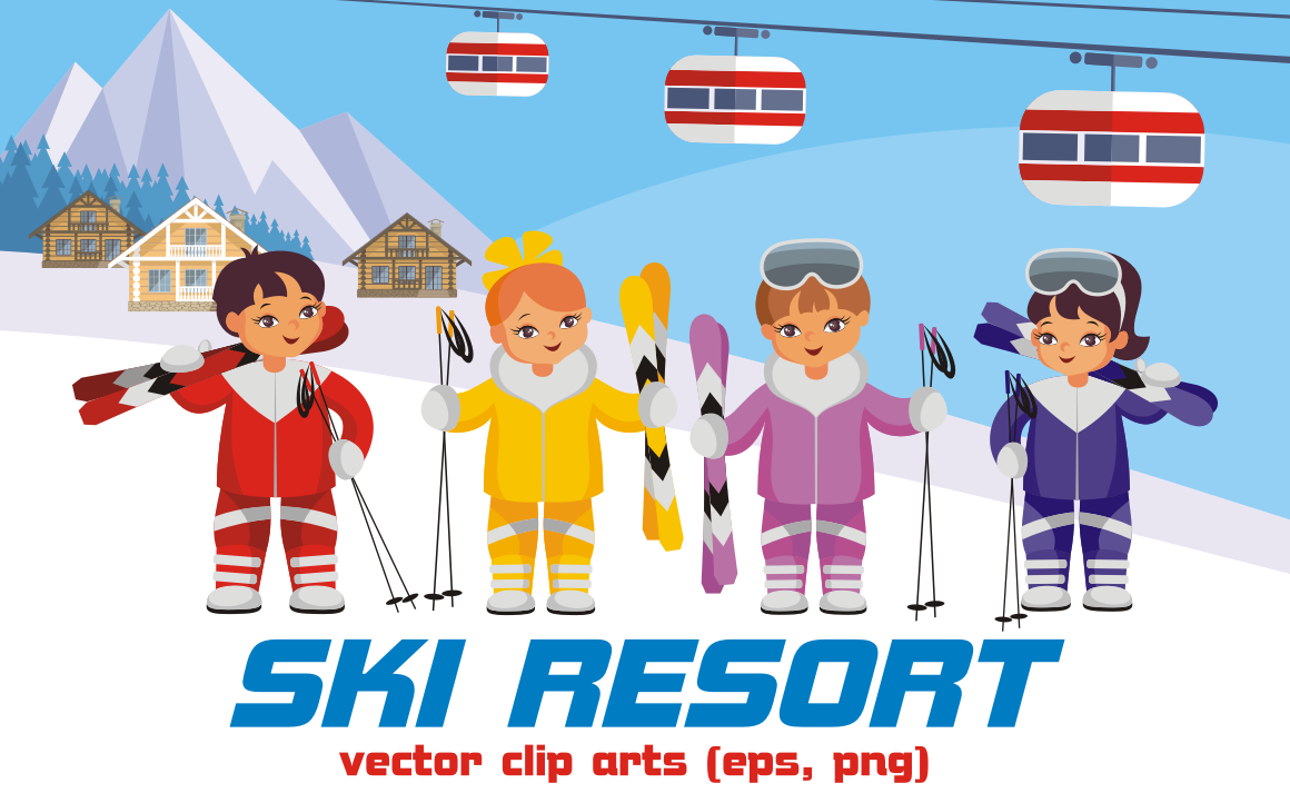 Print on Demand: Ski Resort Vector Clip Art Illustrations Graphic Illustrations By Olga Belova