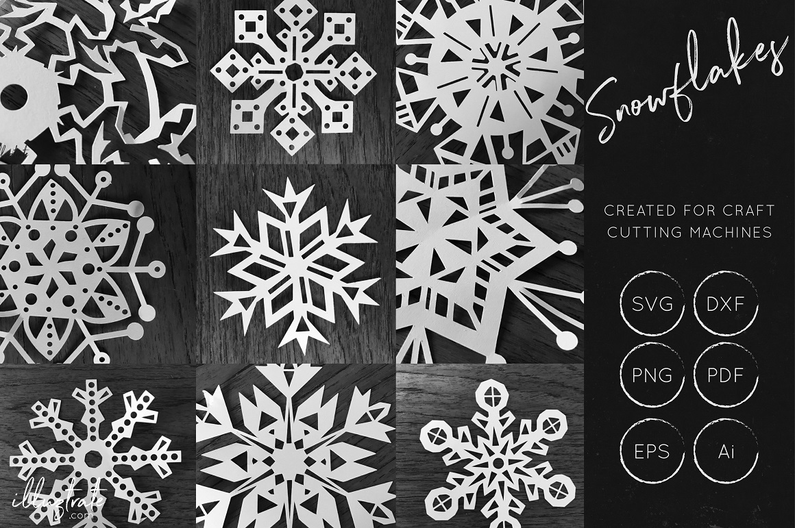 Print on Demand: SnowFlake SVG Cut File Bundle Graphic Crafts By illuztrate