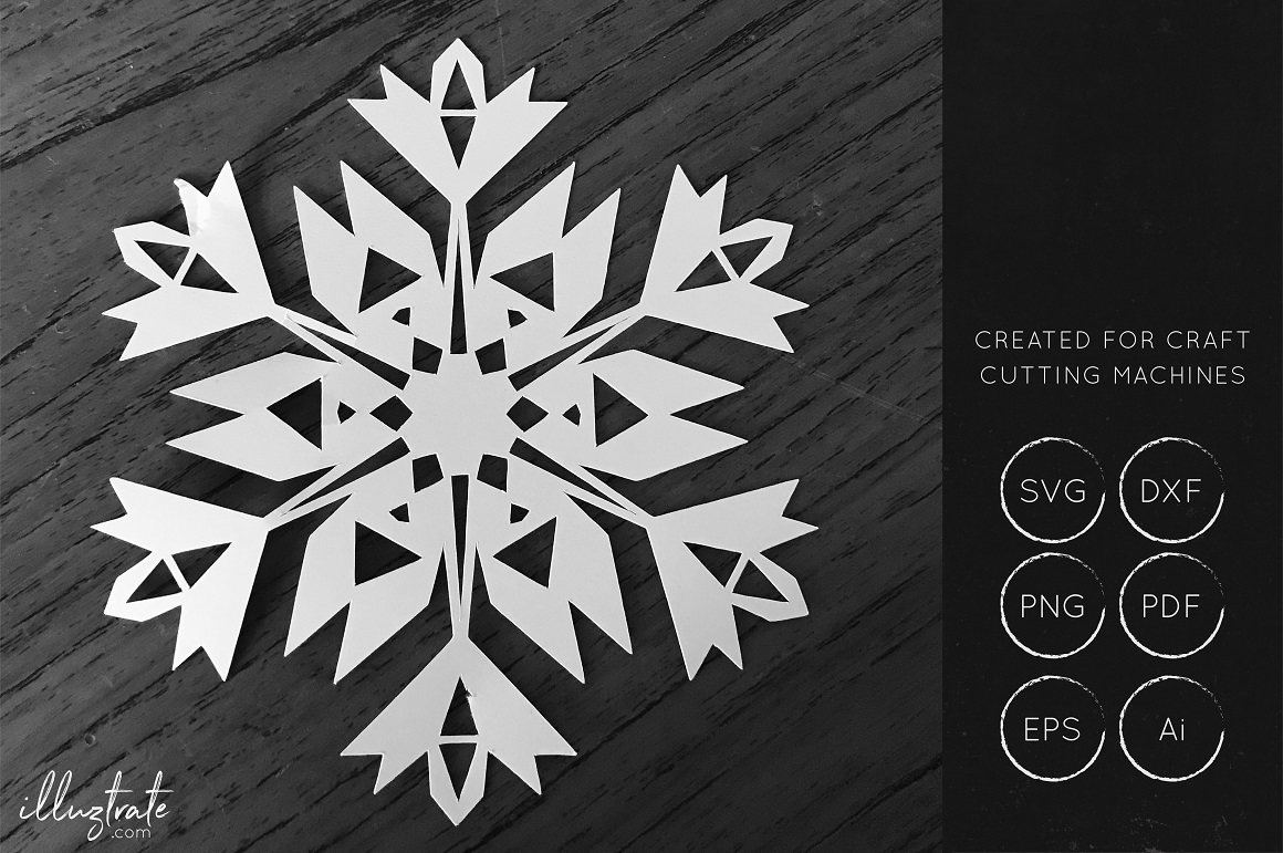 Print on Demand: SnowFlake SVG Cut File - DXF Cut Files Graphic Crafts By illuztrate