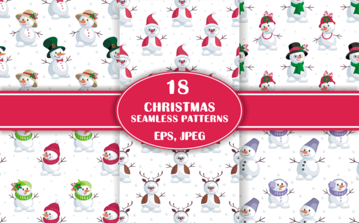 Print on Demand: Snowmen Christmas Seamless Patterns Set Gráfico Moldes Por Olga Belova
