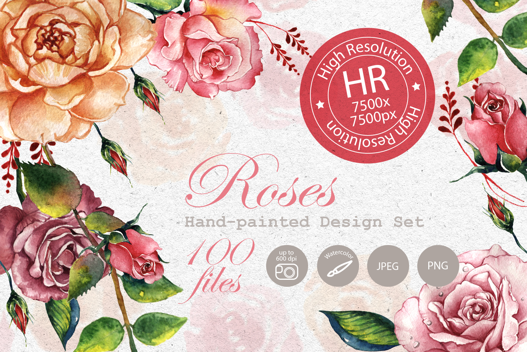 Print on Demand: Stunning Roses Watercolor Set Graphic Illustrations By MyStocks