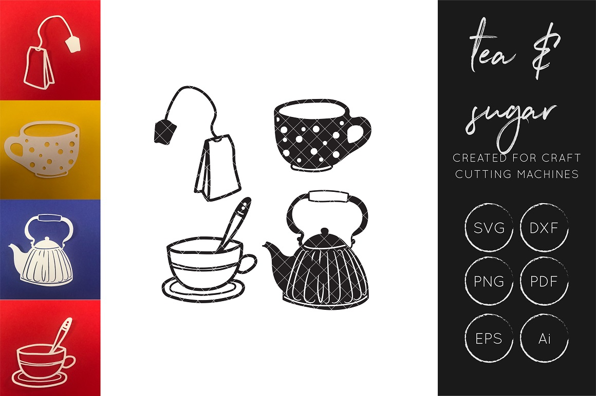 Download Free Tea Cup Tea Pot Cake Collection Graphic By Illuztrate Creative Fabrica for Cricut Explore, Silhouette and other cutting machines.