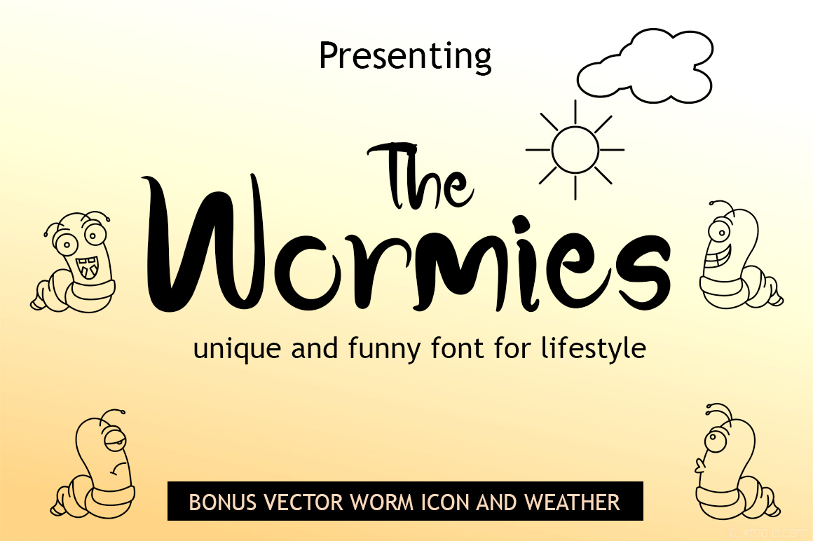 Print on Demand: The Wormies Serif Font By Haksen