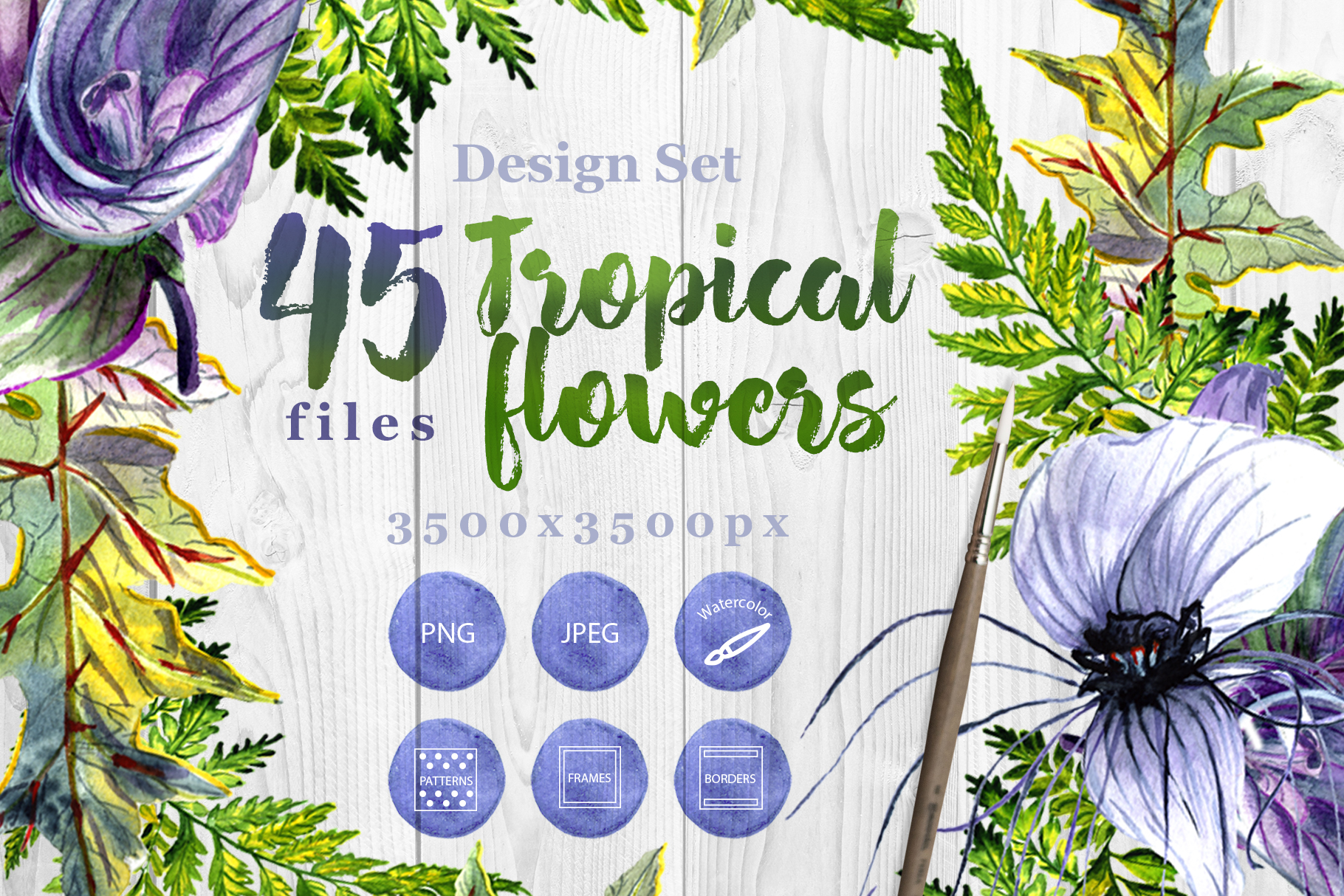 Print on Demand: Tropical Flowers PNG Watercolor Set Graphic Illustrations By MyStocks - Image 1