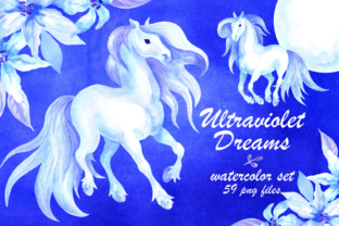 Ultraviolet Dreams Watercolor Horses and Flowers Graphic By Olga Belova