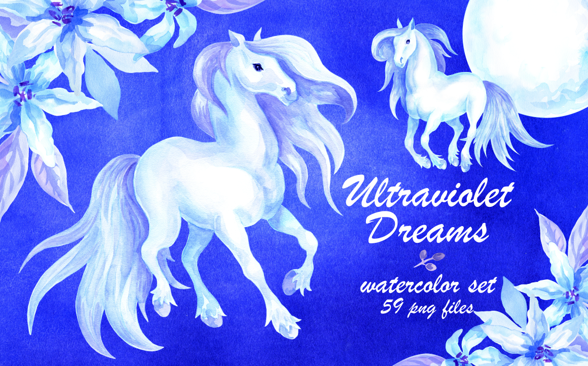 Print on Demand: Ultraviolet Dreams Watercolor Horses and Flowers Graphic Illustrations By Olga Belova