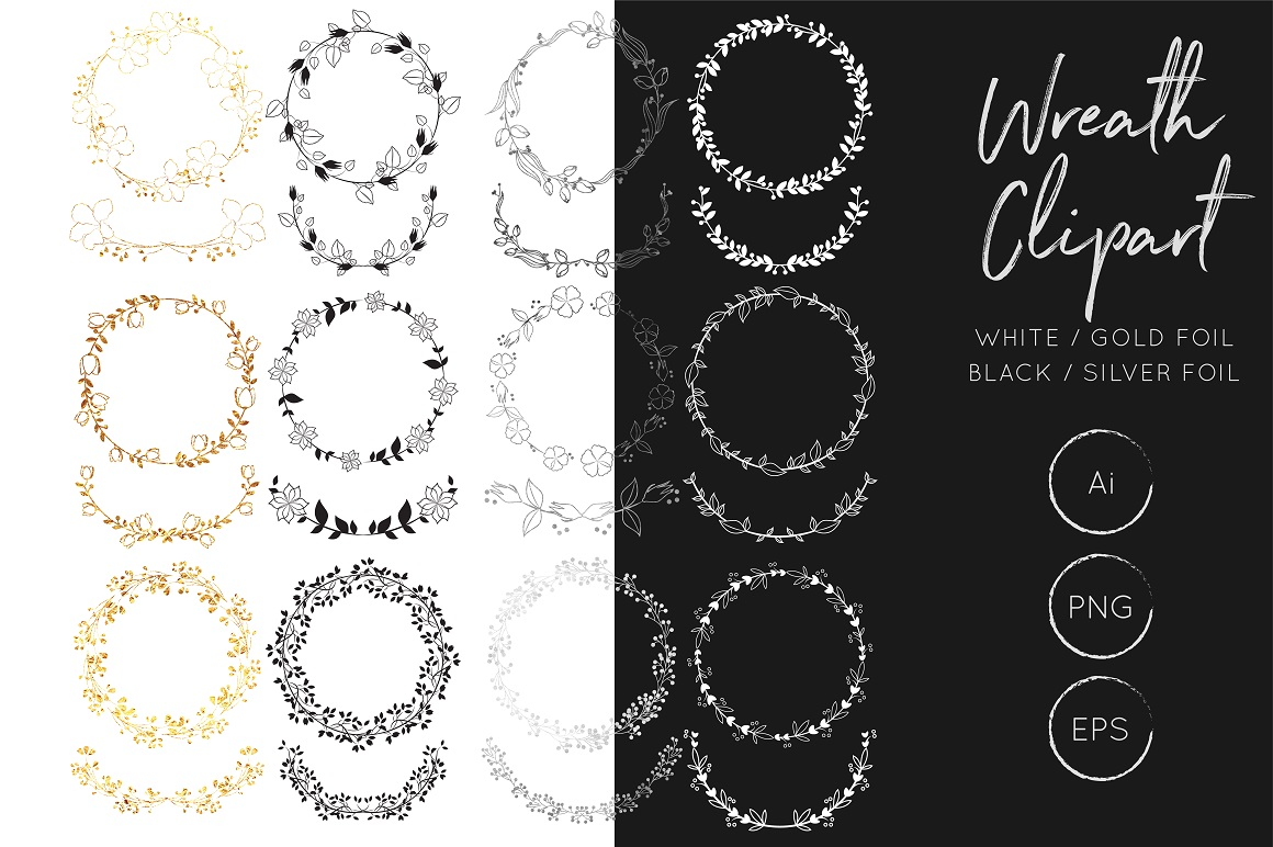 Print on Demand: Vector Wreath Bundle - Gold Foil Wreath, Silver Foil Wreath Graphic Illustrations By illuztrate