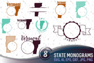 Download Free Vermont State Monograms Graphic By Vector City Skyline for Cricut Explore, Silhouette and other cutting machines.