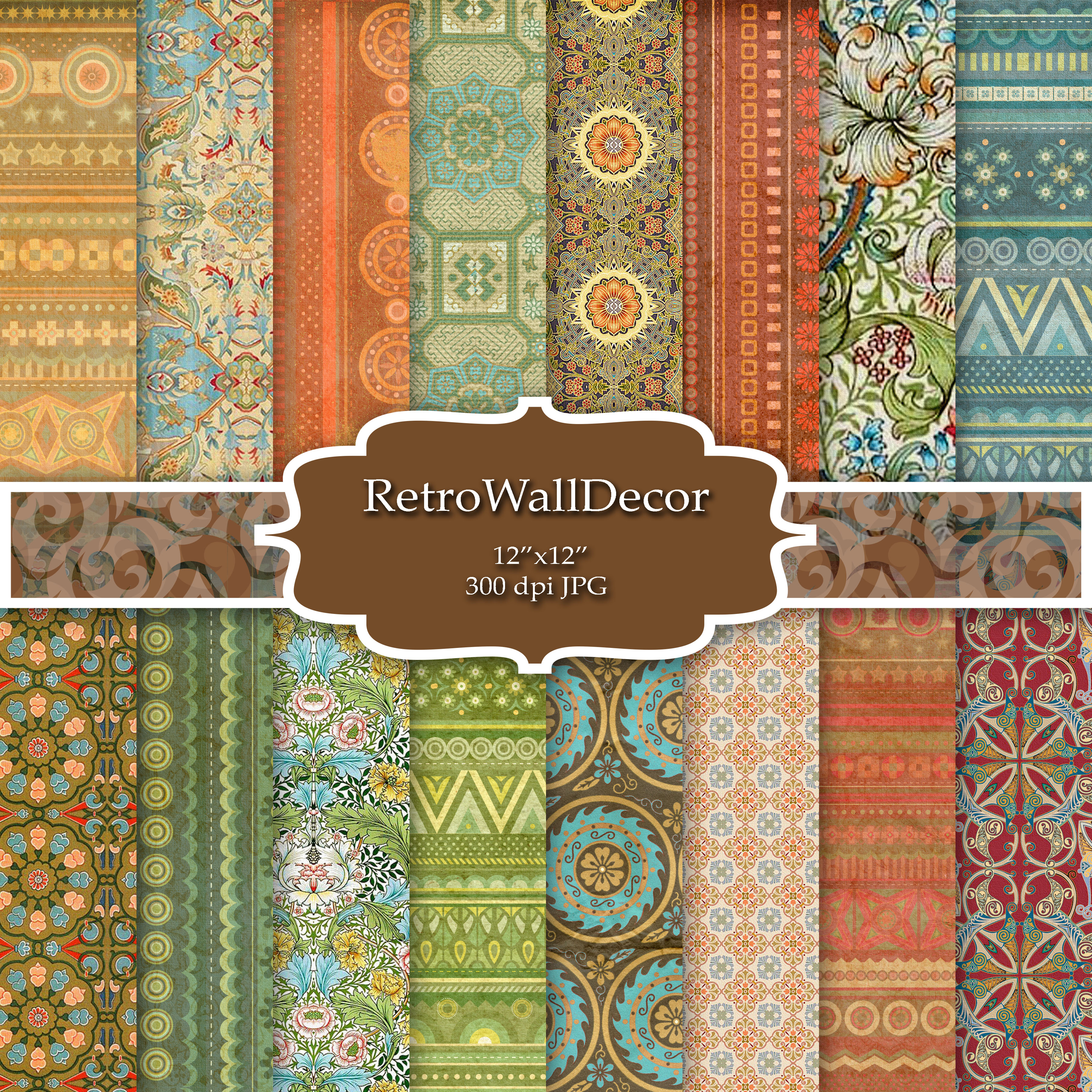 Print on Demand: Vintage Exotic Digital Paper Graphic Backgrounds By retrowalldecor