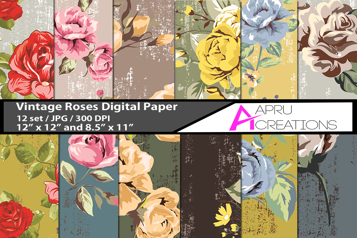 Print on Demand: Vintage Roses Digital Papers Graphic Patterns By aparnastjp