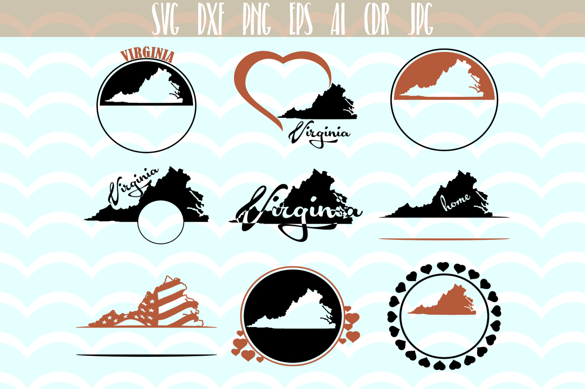 Download Free Virginia State Monograms Graphic By Vector City Skyline for Cricut Explore, Silhouette and other cutting machines.