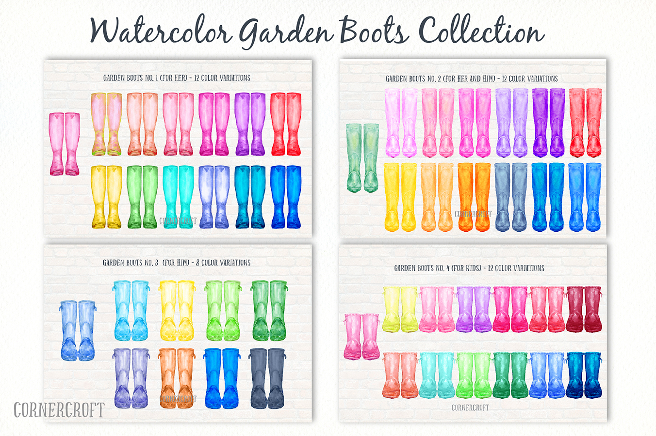 Watercolor Clipart Rain Boots, Garden Boots Collection Graphic Illustrations By Corner Croft