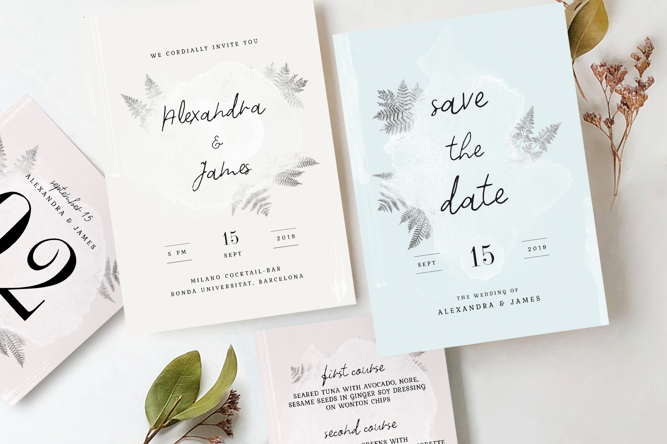 Download Free Watercolor Sprigs Wedding Invitation Suite Graphic By Blue Robin for Cricut Explore, Silhouette and other cutting machines.
