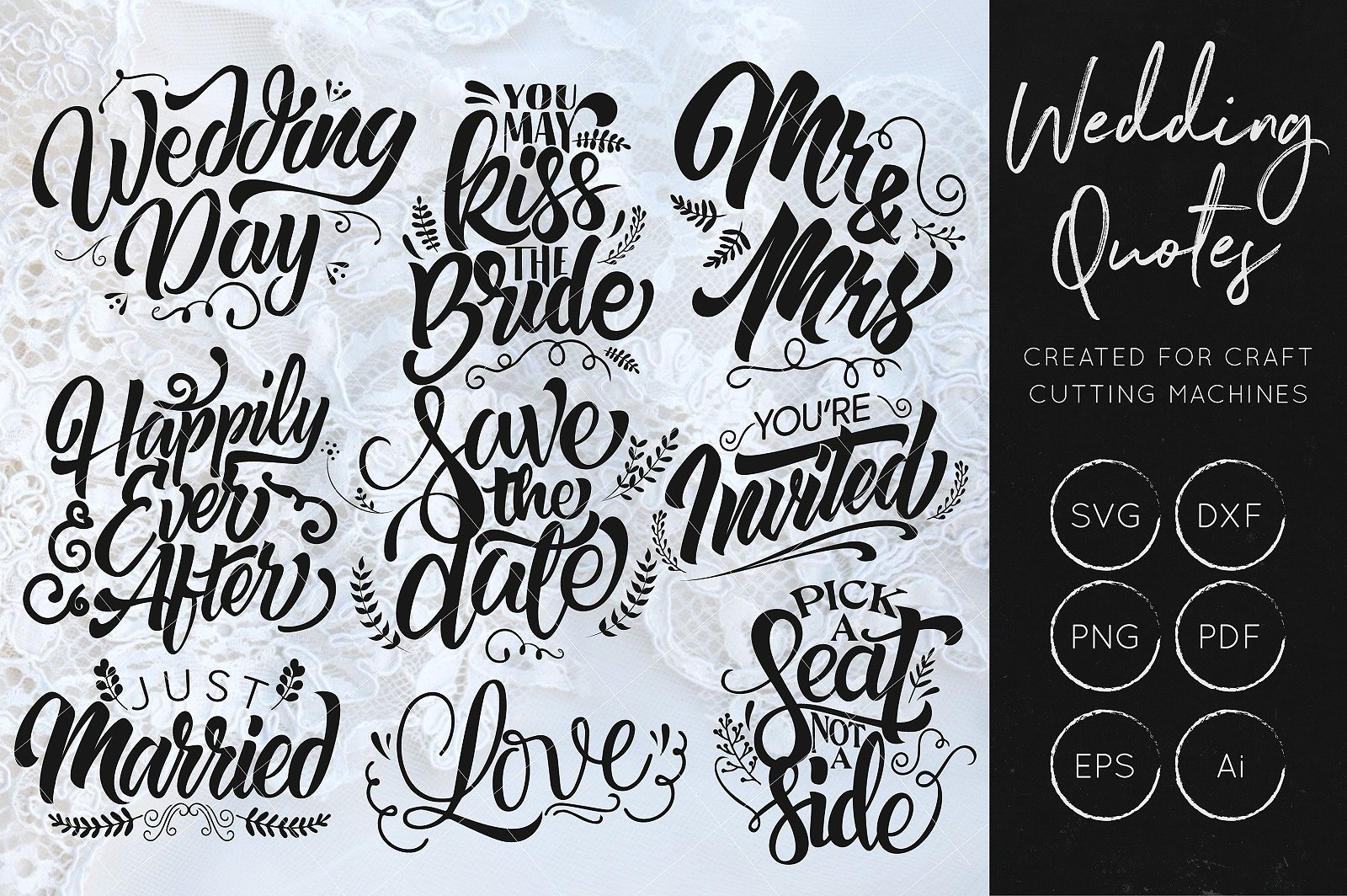 Print on Demand: Wedding Quotes Bundle Graphic Crafts By illuztrate