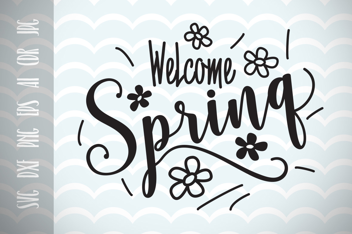 Download Free Welcome Spring Cut Files Graphic By Vector City Skyline for Cricut Explore, Silhouette and other cutting machines.