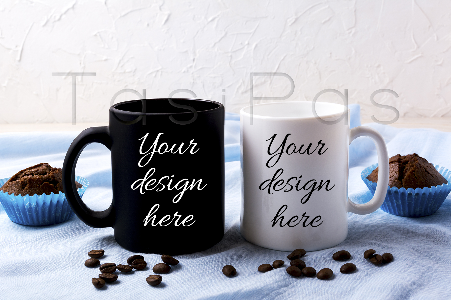 Print on Demand: White and Black Mug Mockup with Coffee Beans and Muffins Graphic Product Mockups By TasiPas