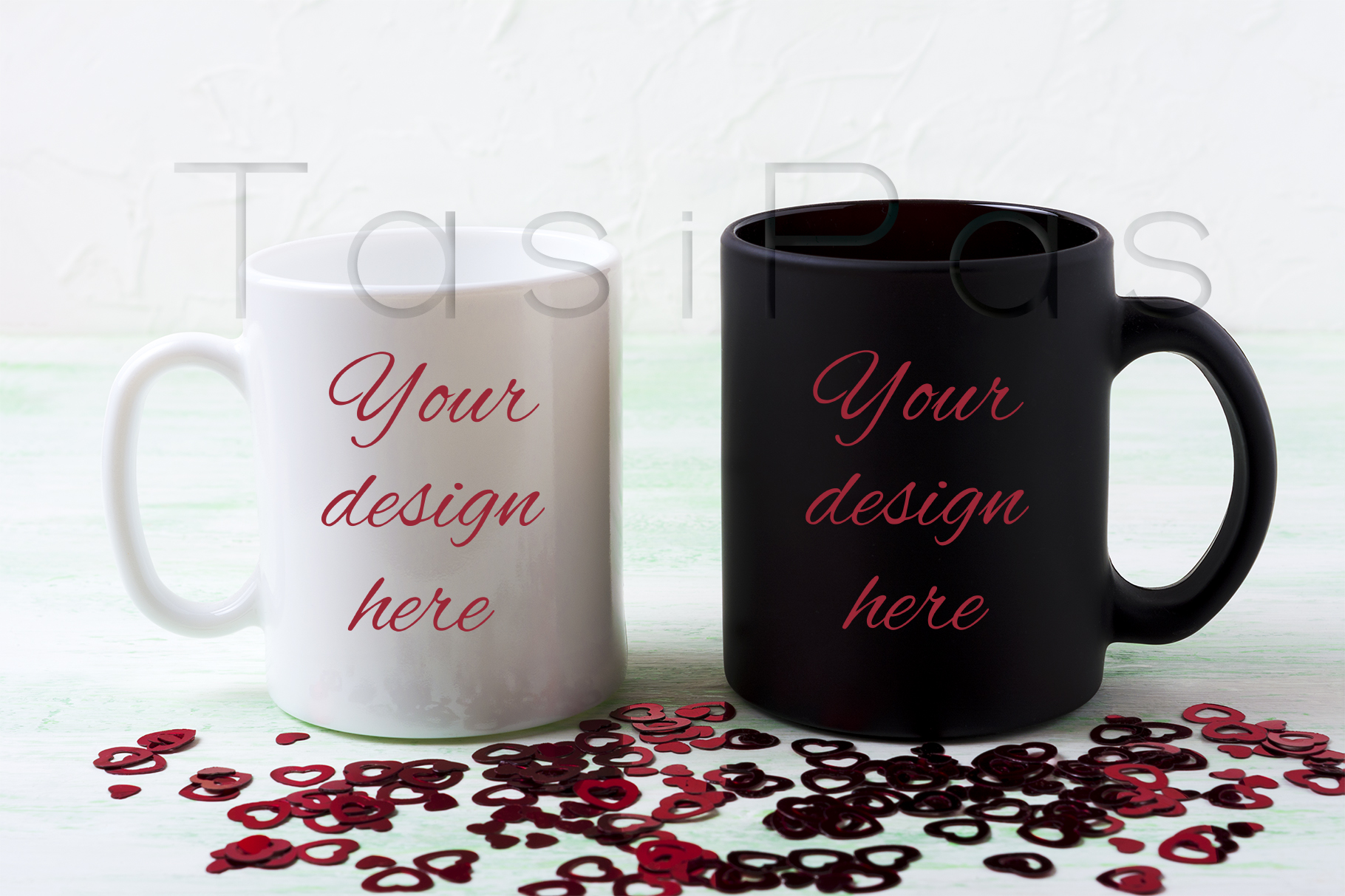 Print on Demand: White and Black Mug Mockup with Red Glitter Hearts Graphic Product Mockups By TasiPas