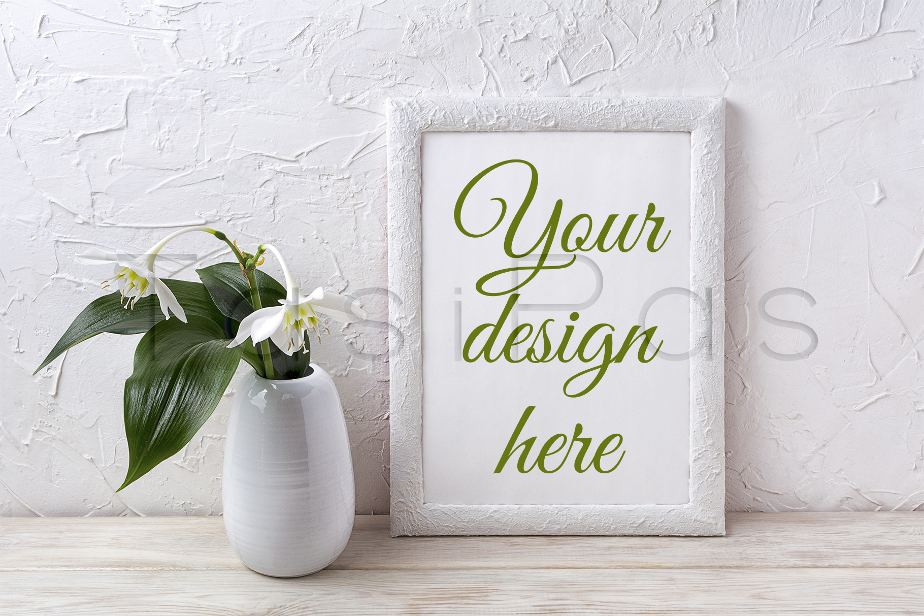 Print on Demand: White Frame Mockup with Euxaris Flower in Vase Graphic Product Mockups By TasiPas