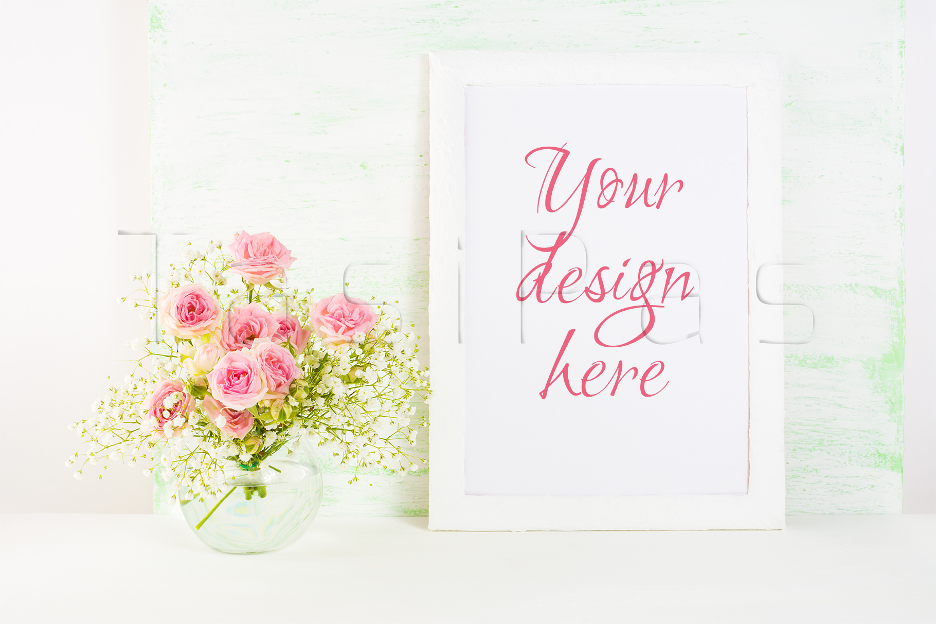 Print on Demand: White Frame Mockup with  Pink Rose Flowers Graphic Product Mockups By TasiPas
