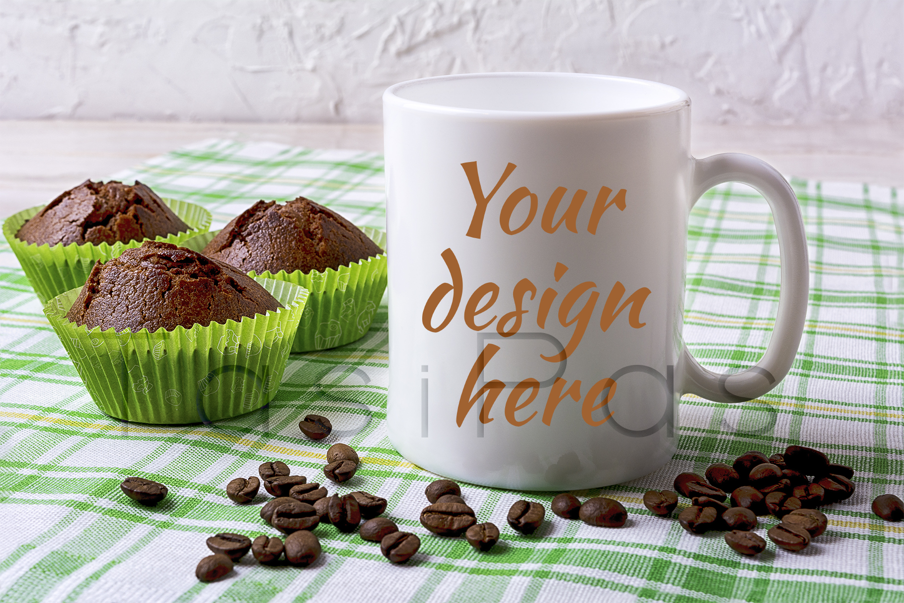 White Mug Mockup with Chocolate Muffins on Green Checkered Napkin Graphic By TasiPas