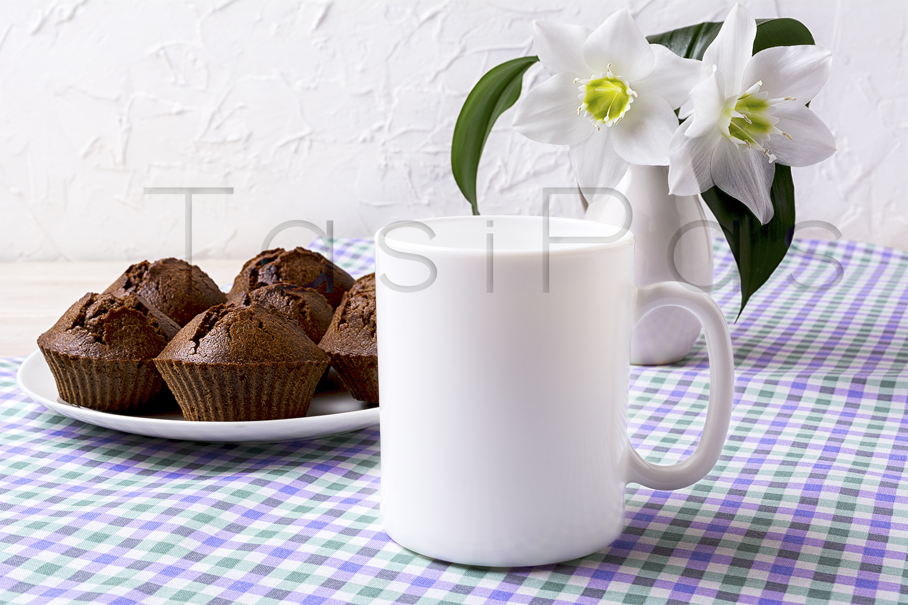 Print on Demand: White Mug Mockup with Chocolate Muffins on Plate Graphic Product Mockups By TasiPas - Image 2