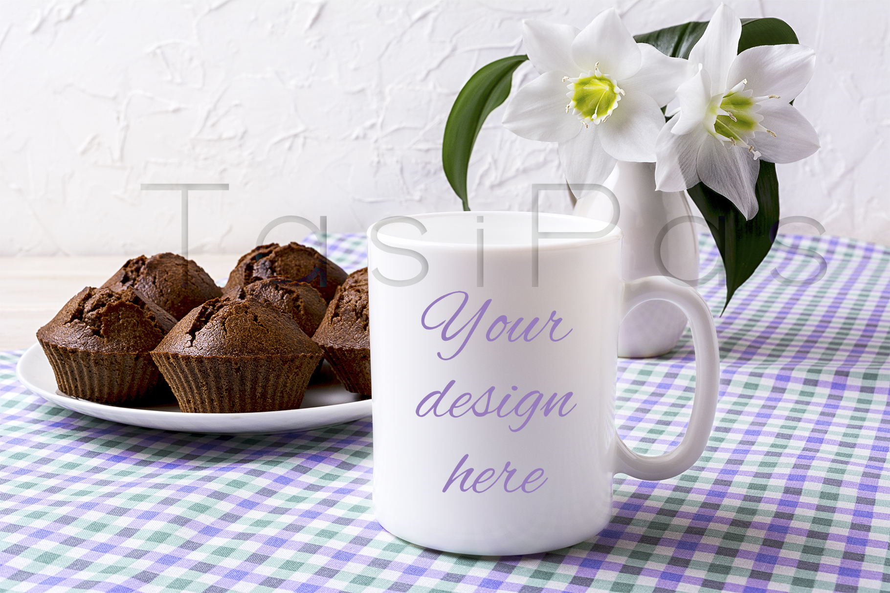 White Mug Mockup with Chocolate Muffins on Plate Graphic By TasiPas
