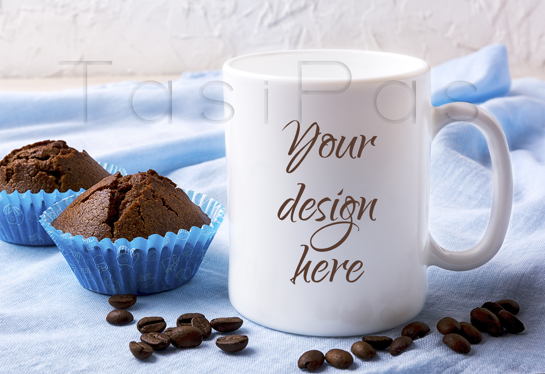 White Mug Mockup with Coffee Beans and Two Chocolate Muffins Graphic By TasiPas
