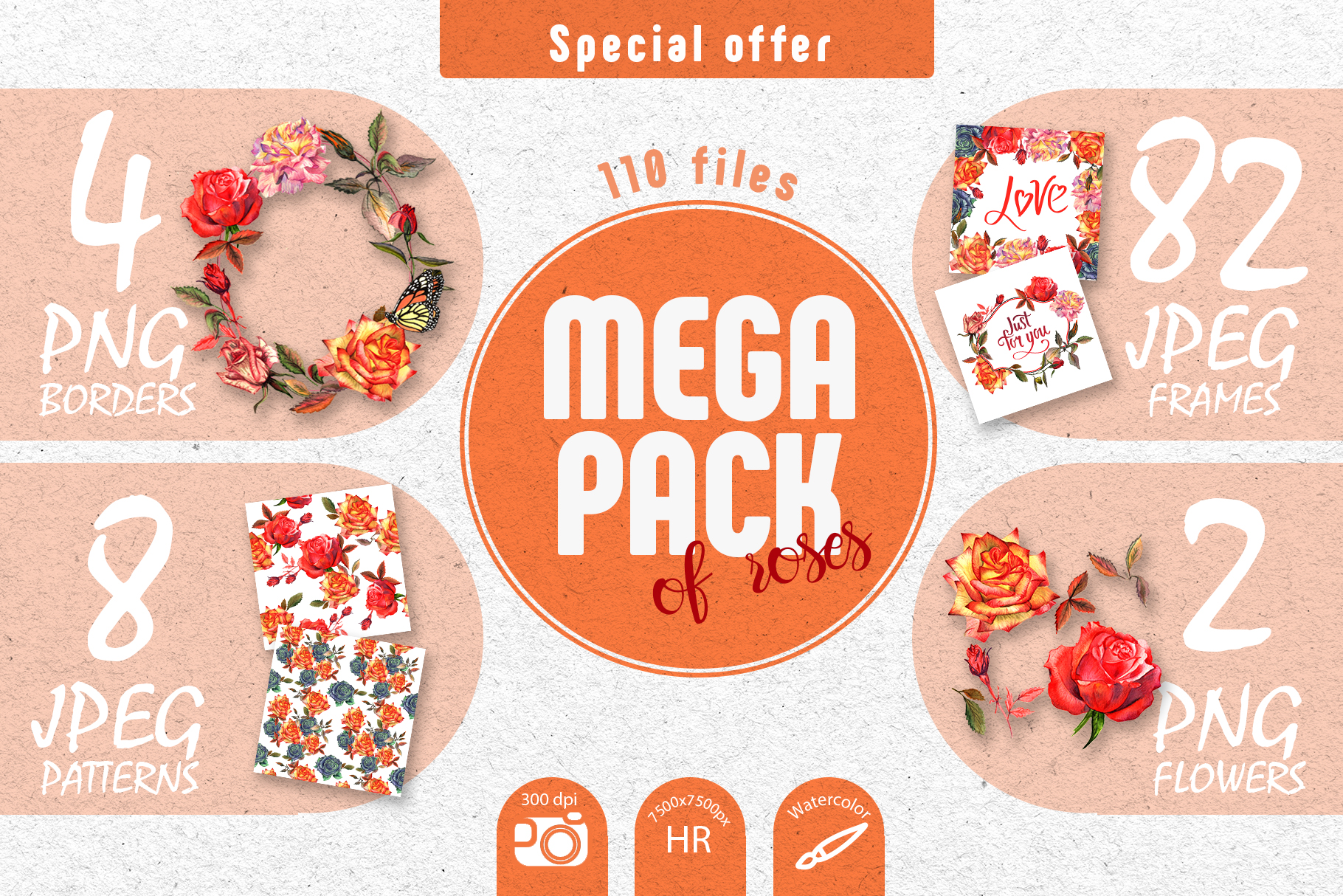 Print on Demand: Wildflower Colorful Roses Watercolor Set Graphic Illustrations By MyStocks