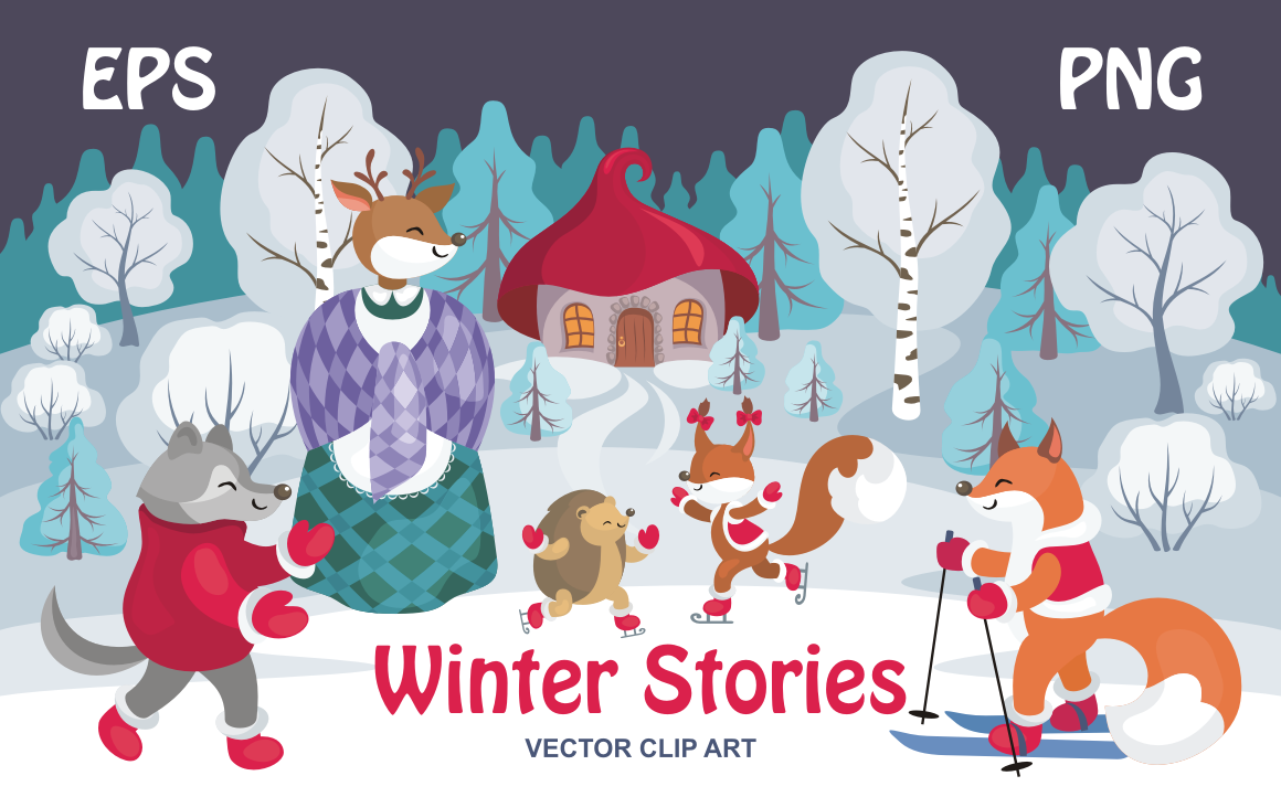 Download Free Winter Stories Vector Clip Art Illustrations Graphic By Olga for Cricut Explore, Silhouette and other cutting machines.