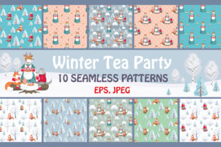 Winter Tea Party Seamless Patterns Set Graphic By Olga Belova