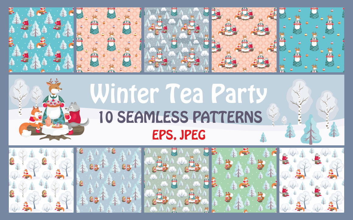 Print on Demand: Winter Tea Party Seamless Patterns Set Graphic Patterns By Olga Belova
