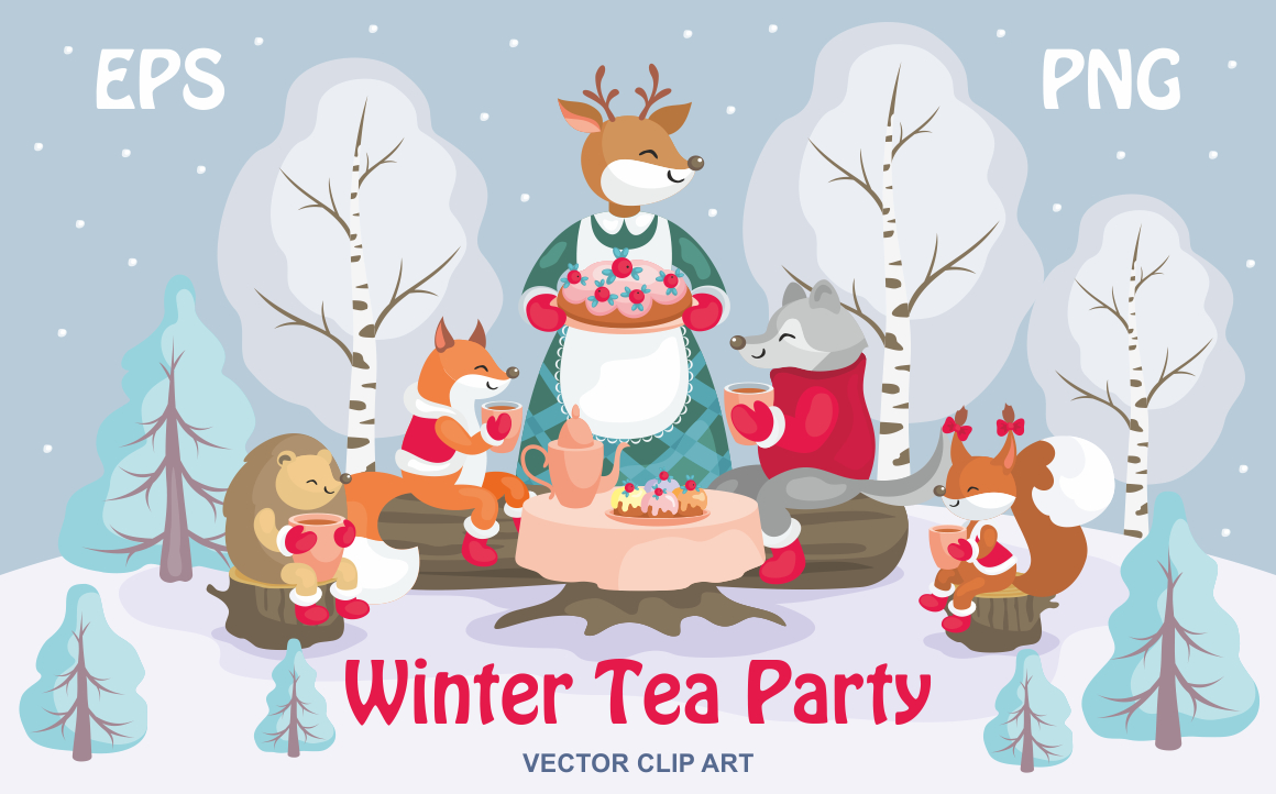 Print on Demand: Winter Tea Party Vector Clip Art Graphic Illustrations By Olga Belova