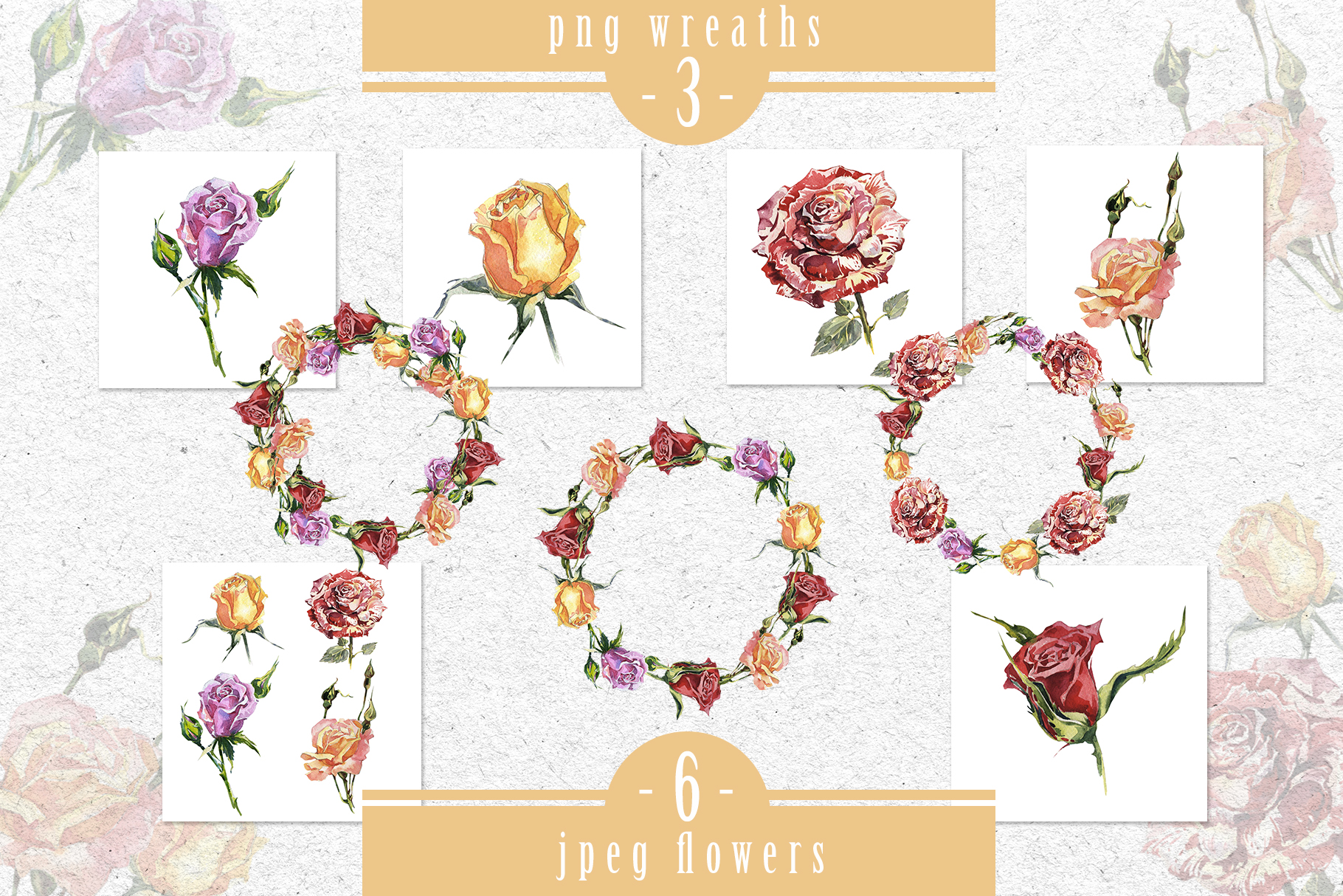 Rose Garden Creations: Wonderful Rose Garden PNG Watercolor Set Graphic By