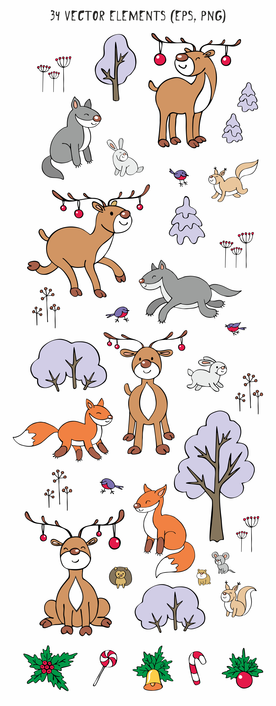 Woodland Animals Christmas Clip Art Graphic By Olga Belova Image 2