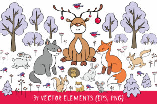 Woodland Animals Christmas Clip Art Graphic By Olga Belova