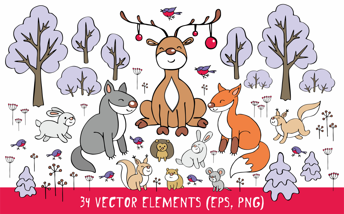 Print on Demand: Woodland Animals Christmas Clip Art Graphic Illustrations By Olga Belova