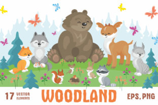 Woodland Cute Animals and Plants Graphic By Olga Belova