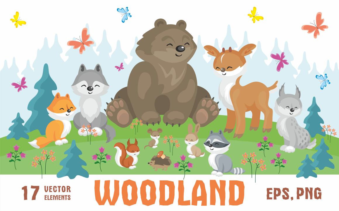 Print on Demand: Woodland Cute Animals and Plants Graphic Illustrations By Olga Belova